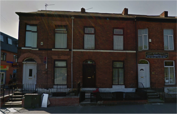 147 Drake Street, Rochdale - the Milne family home. Note absence of Blue Plaque. Source: Google Streetview