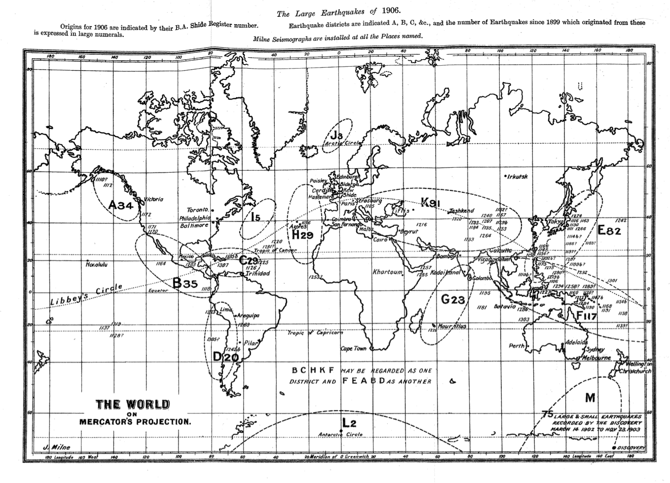Milne's World Earthquake Map for 1906